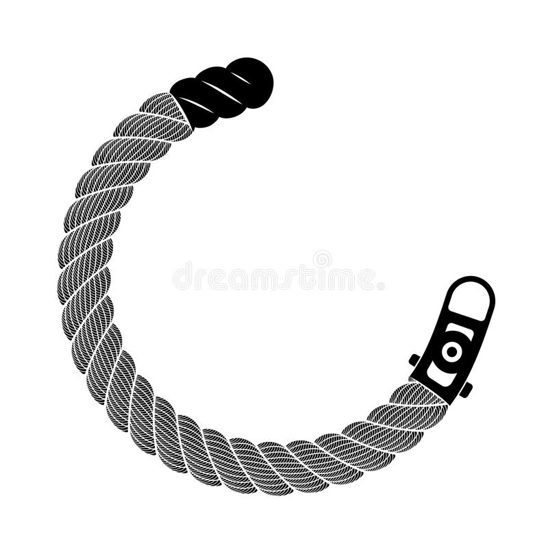Rope realistic weaving semicircle, simple style vector illustration