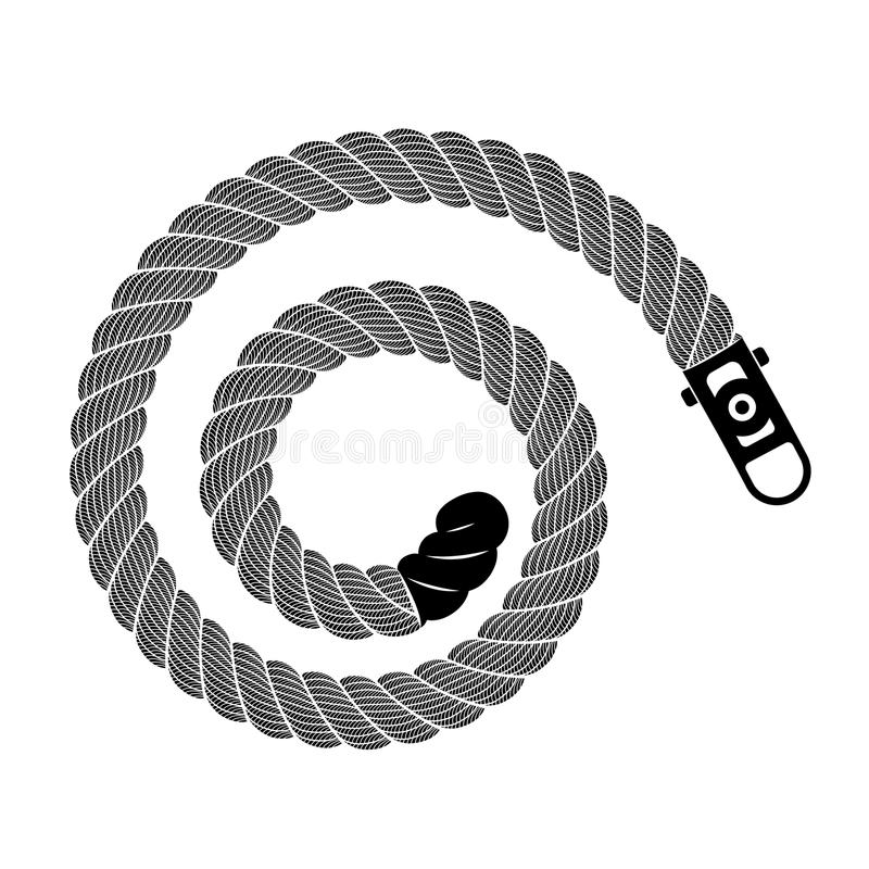 Rope realistic weaving spiral loop, simple style vector illustration