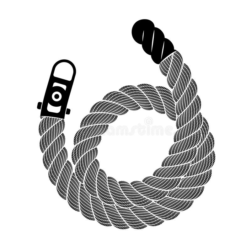 Rope realistic weaving spiral loop, simple style royalty free illustration