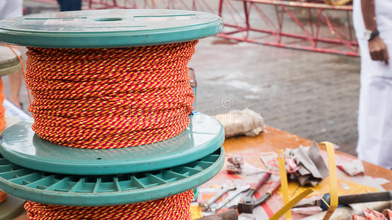 Rope roll or knitting wool with blur background.  stock image