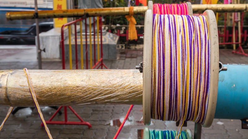 Rope roll or knitting wool with blur background.  royalty free stock image