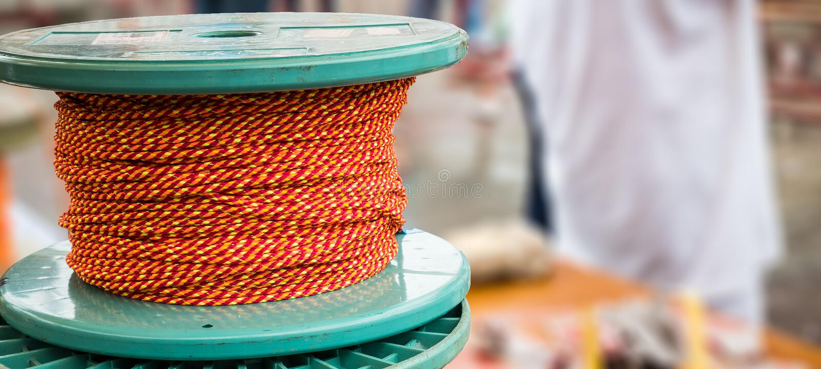 Rope roll or knitting wool with blur background.  royalty free stock photos
