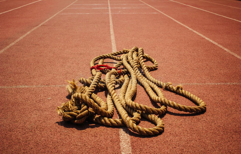 Rope. On the runway of sports field stock photo