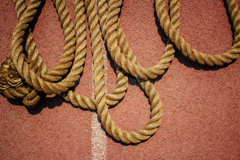 Rope. On the runway of sports field royalty free stock image