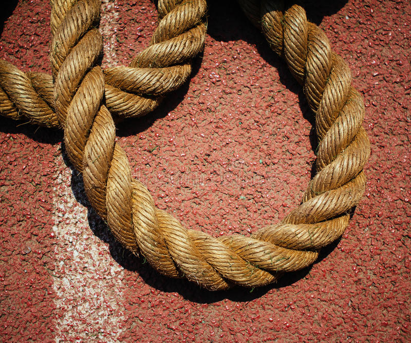 Rope. On the runway of sports field stock photography