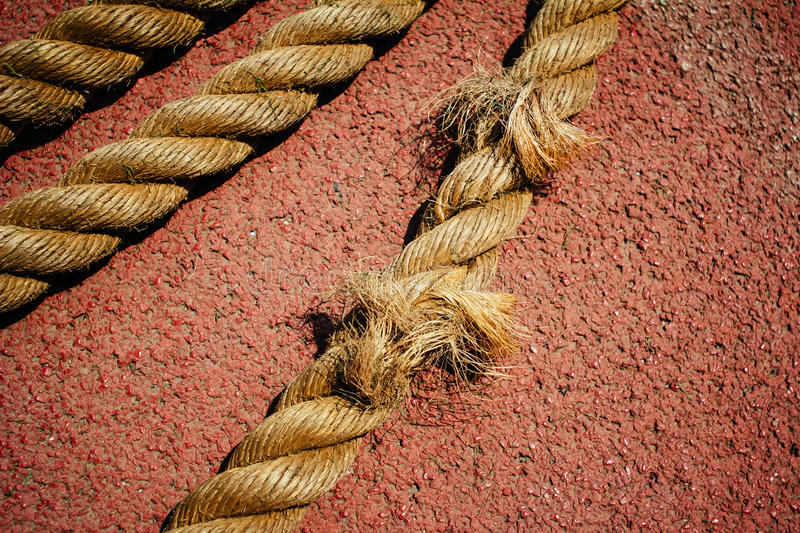 Rope. On the runway of sports field royalty free stock images