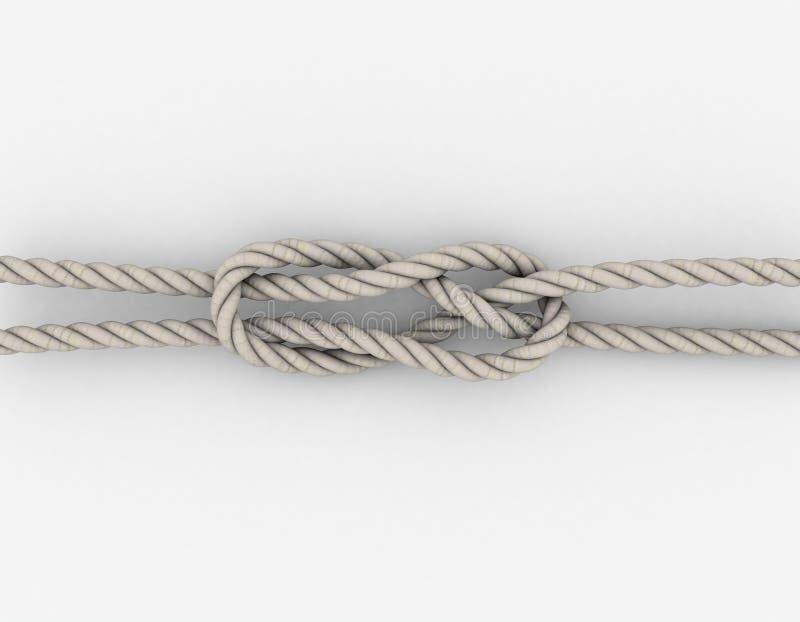 Rope Sheet Bend.Isolated on white background. 3D rendering illustration stock illustration