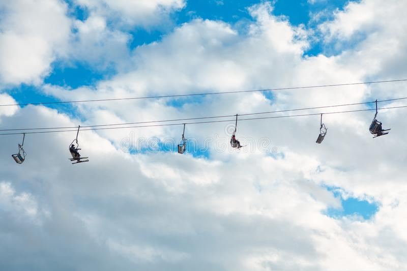 Rope with skiers royalty free stock photography