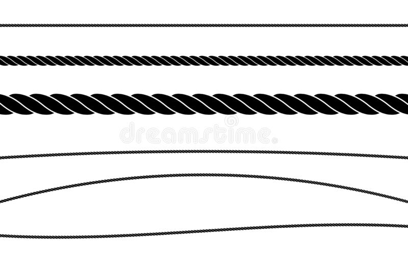 Rope String Flat Single Color Vector Illustration Set. Set of flat black rope and string illustrations going across the page straight, wavy and curved to be used royalty free illustration
