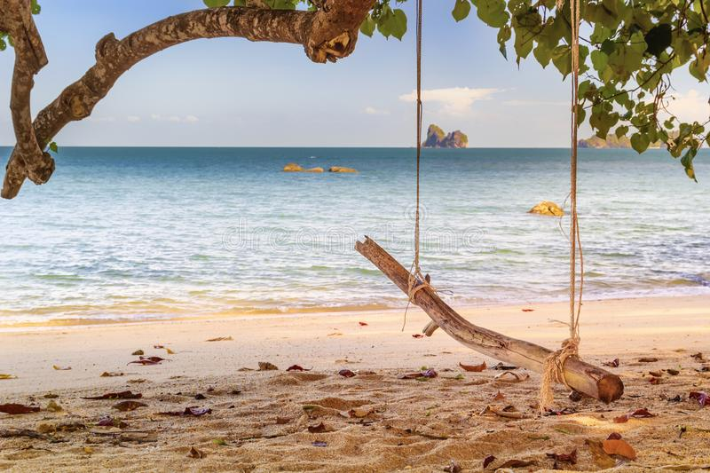 Rope swing tied to a tree branch on a deserted beach against the turquoise sea and the blue sky with clouds. royalty free stock photo