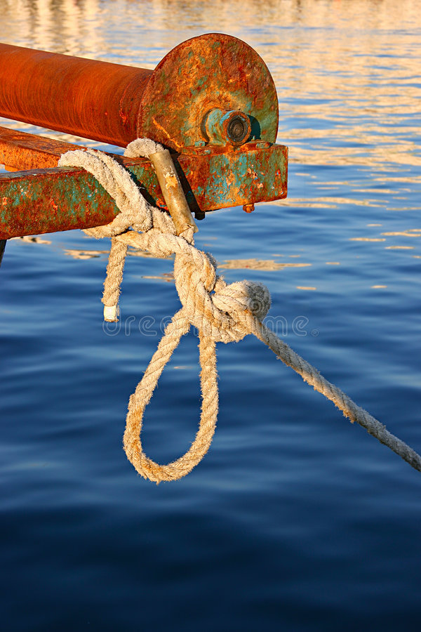 Rope Tied To Rusty Old Boat Stock Photography