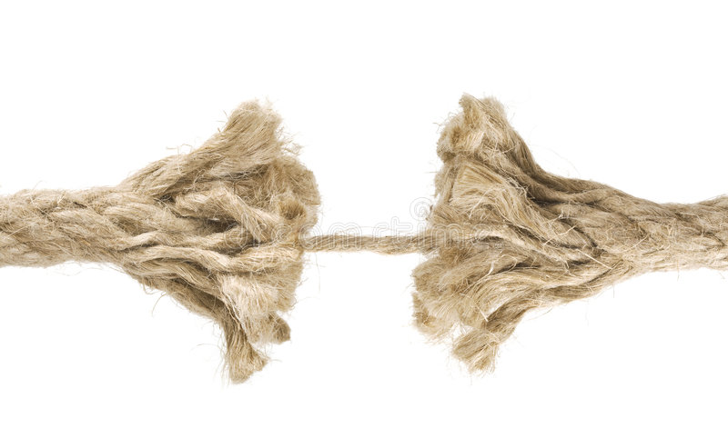 Rope about to break royalty free stock photography