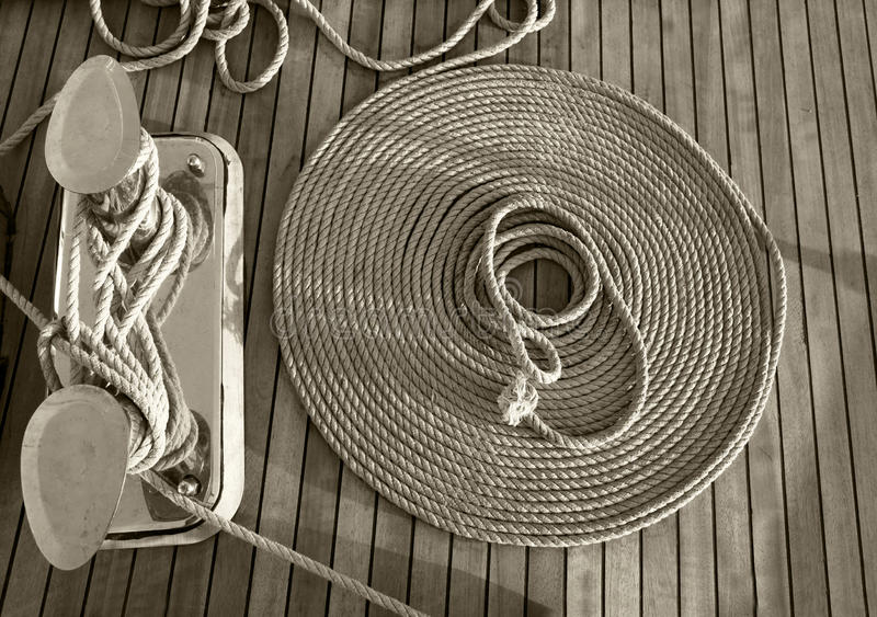 Rope on a yacht royalty free stock images