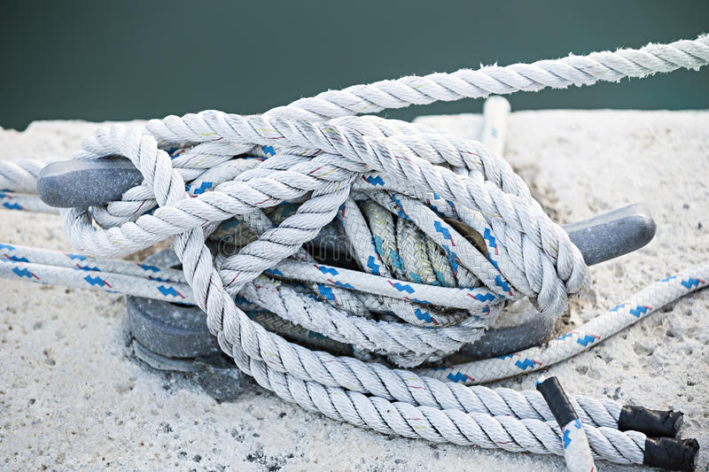 Ropes on cleat royalty free stock image