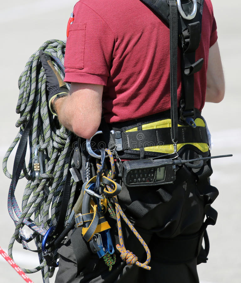 Ropes and gear for climbers during climbing workouts stock image