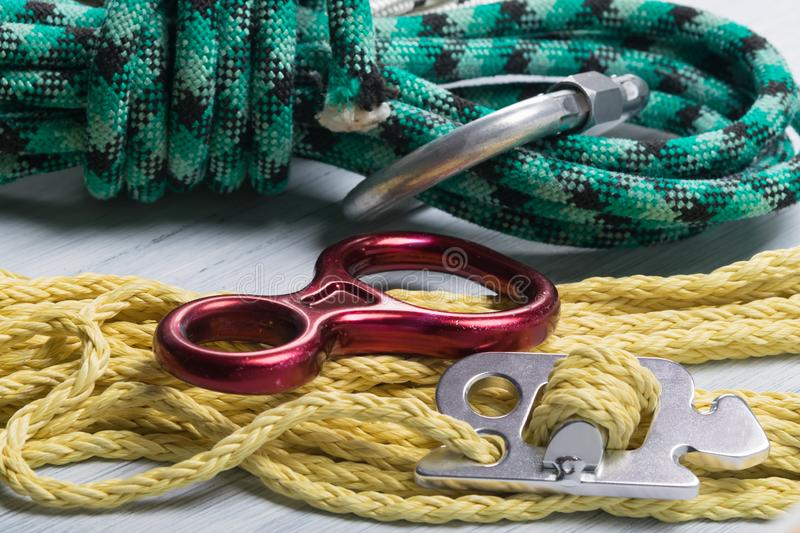Ropes and insurance for conquering mountains, close-up stock photo