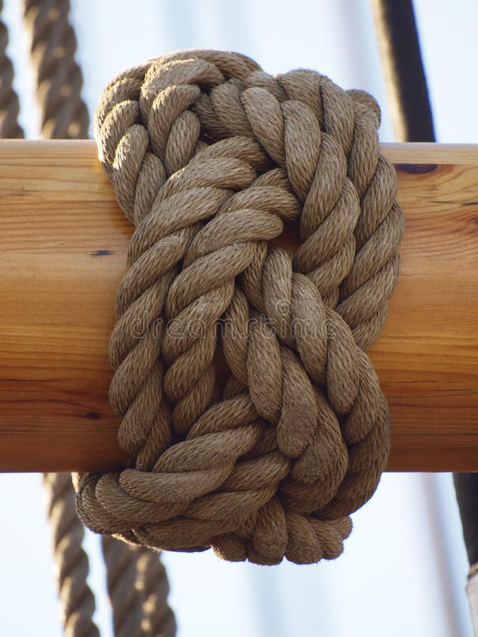 Ropes from an old sailing boat royalty free stock photos
