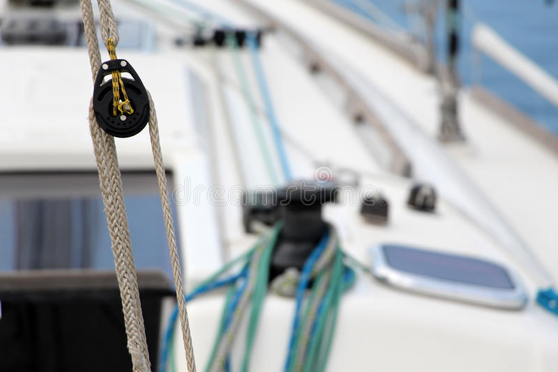 Ropes and a pulley, detail stock image