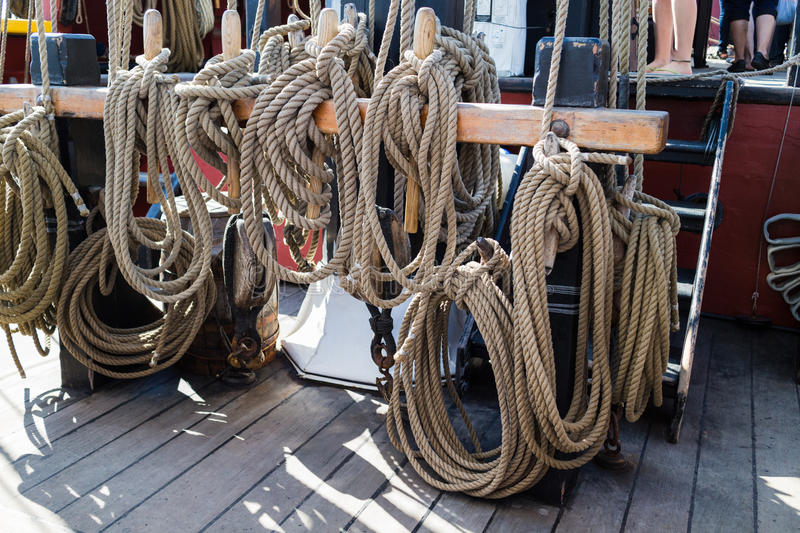 Download Ropes And Rigging On Old Vessel Stock Image - Image: 32879775
