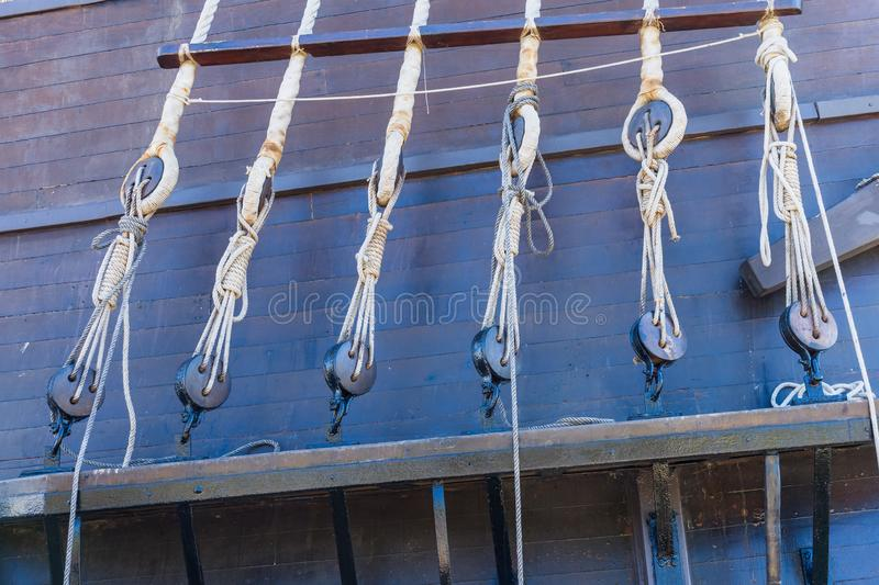 Ropes with sea knots in sailboats. Barcelona. Spain royalty free stock images