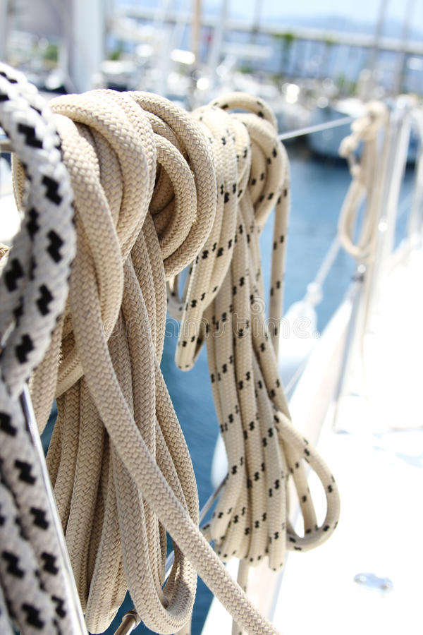 Ropes on the yacht stock photo