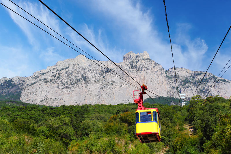 Ropeway. In Yalta leading to the top of Ai-Petri mountain, Crimea, Ukraine royalty free stock photography