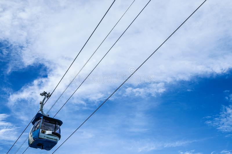 Ropeway and blue sky. Shooting location :  Chofu, Tokyo stock photography