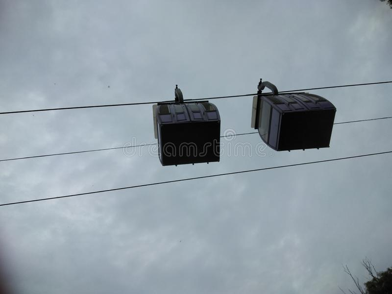 Ropeway. Haging over line on nature park stock photography