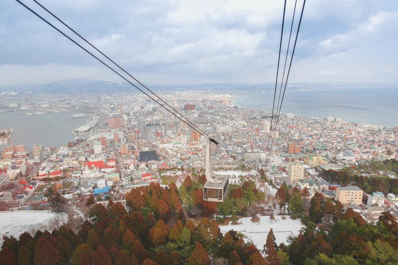 Ropeway Hakodate το χειμώνα είναι μια διακριτική και όμορφη άποψη της πόλης του Hakodate στοκ φωτογραφία με δικαίωμα ελεύθερης χρήσης