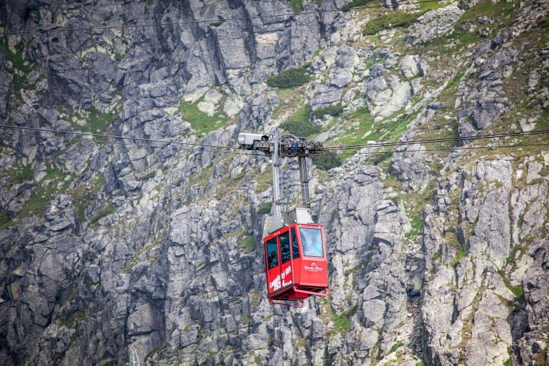 Ropeway in Hoge Tatras, Slowakije stock afbeelding