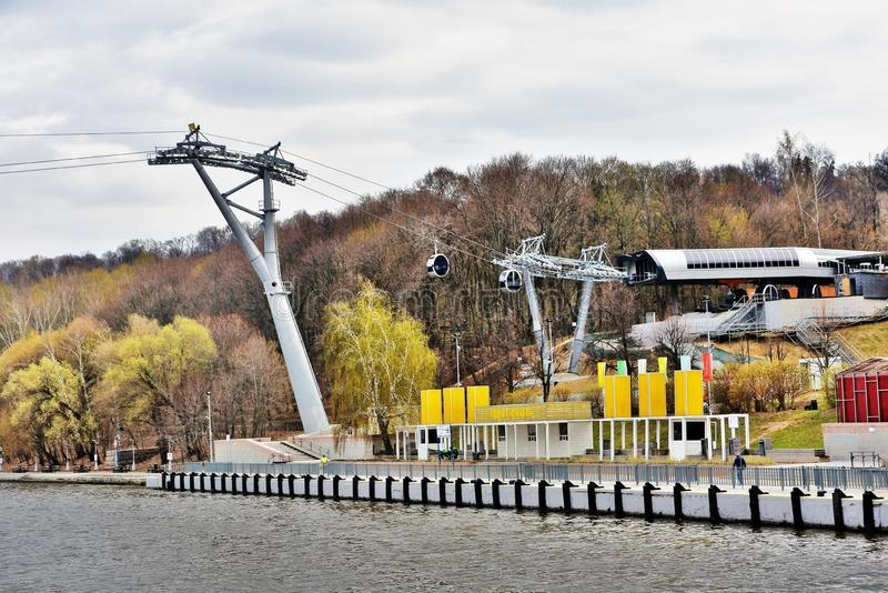 Ropeway in Moscow which connects Luzhniki sportsa area and Vorobyovy hills. Open in 2018. Popular landmark. Color photo royalty free stock image