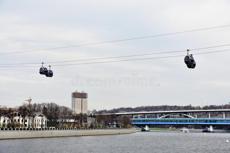 Ropeway in Moscow which connects Luzhniki sportsa area and Vorobyovy hills. Open in 2018. Popular landmark. Color photo stock photo