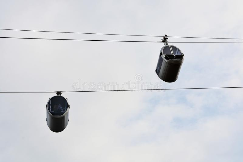 Ropeway in Moscow which connects Luzhniki sportsa area and Vorobyovy hills. Open in 2018. Popular landmark. Color photo stock photography