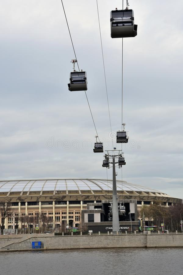 Ropeway in Moscow which connects Luzhniki sportsa area and Vorobyovy hills. Open in 2018. Popular landmark. Color photo stock photos
