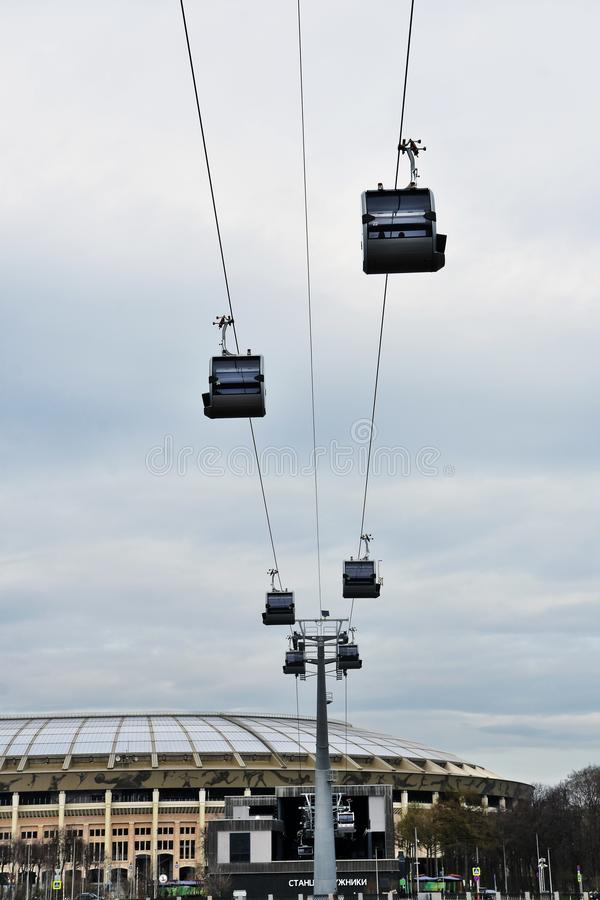 Ropeway in Moscow which connects Luzhniki sportsa area and Vorobyovy hills. Open in 2018. Popular landmark. Color photo stock images