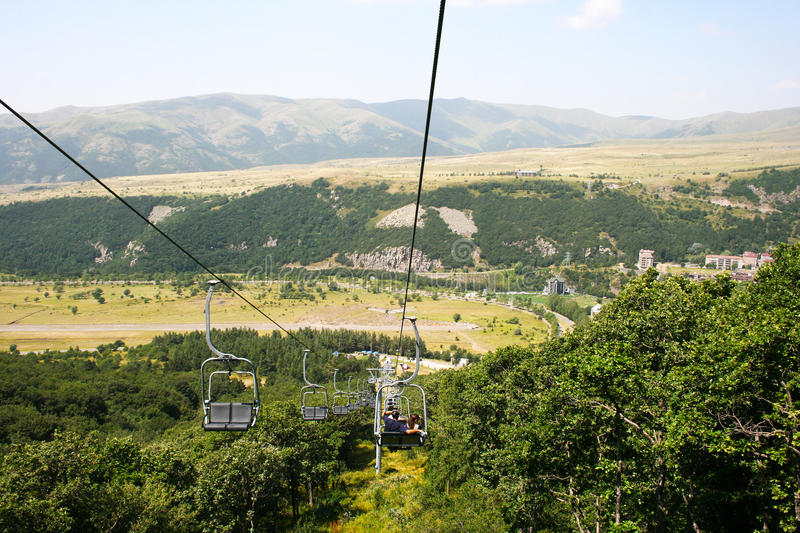 Ropeway in Jermuk stock image