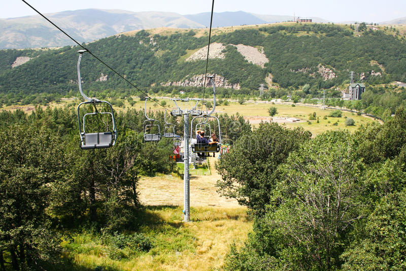Ropeway in Jermuk royalty free stock images