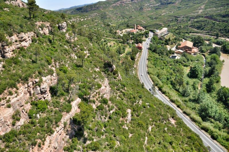 Ropeway na górach Montserrat zdjęcia stock