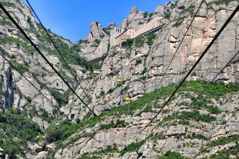 Ropeway na halnym Montserrat obrazy stock