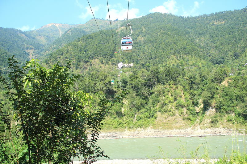 Ropeway In Nepal. Ropeway Service For Manakamana temple In Kathmandu,Nepal stock images