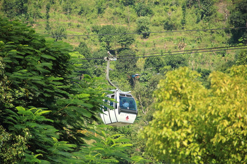 Ropeway In Nepal. Ropeway Service For Manakamana temple In Kathmandu,Nepal stock photos