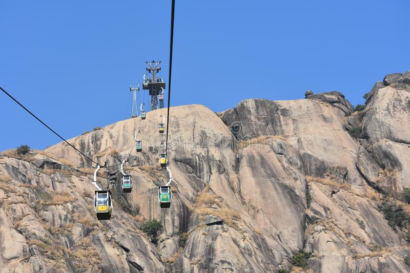 Ropeway Ride to top royalty-vrije stock foto