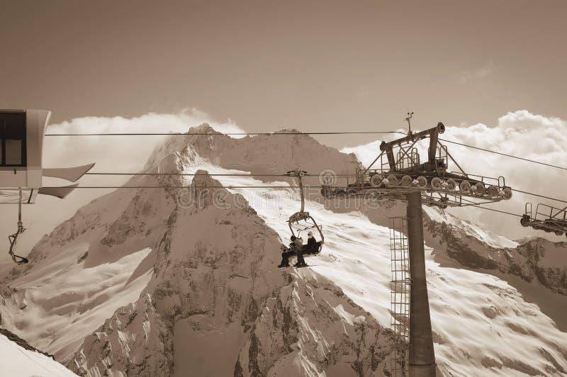 Ropeway at ski resort stock image