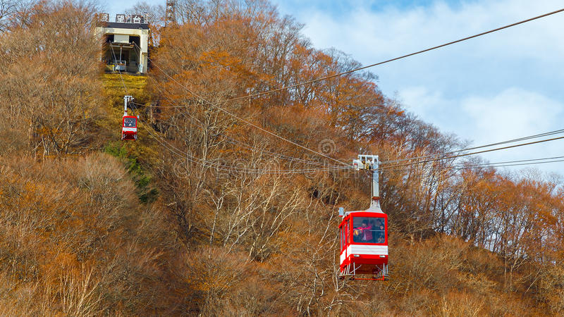 Ropeway to Akechi-daira Viewpoint in Nikko, Japan stock images