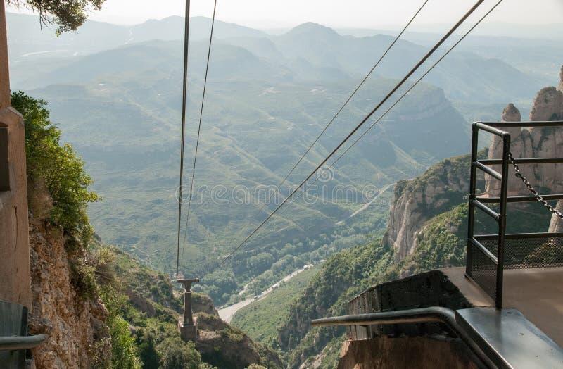 Ropeway to to Montserrat Abbey. Spain stock photo