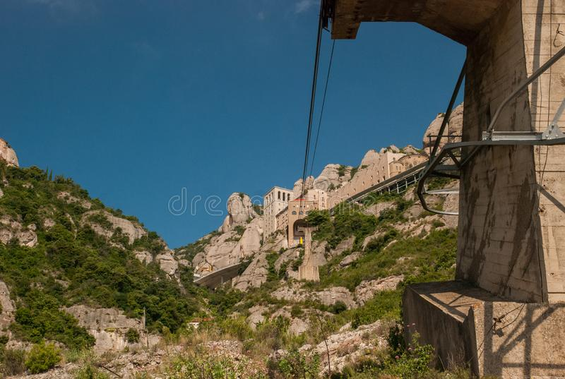 Ropeway to to Montserrat Abbey. Spain royalty free stock images