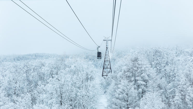 Ropeway in winter at Zao mountain. Snow covered on tree view with ropeway at Zao mountain, Yamagata, Japan stock photo