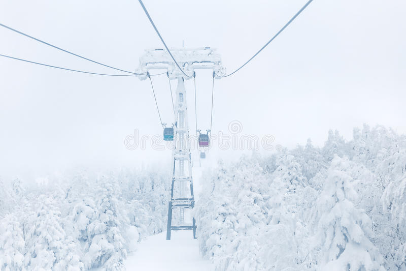 Ropeway in winter at Zao mountain. Snow covered on tree view with ropeway at Zao mountain, Yamagata, Japan royalty free stock image