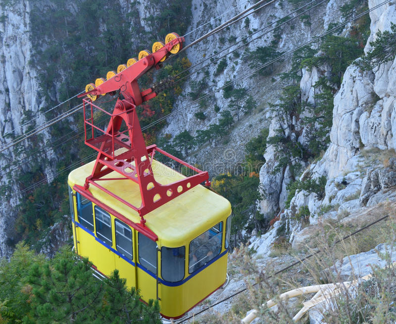Ropeway. Yellow vagen of the ropeway royalty free stock photography