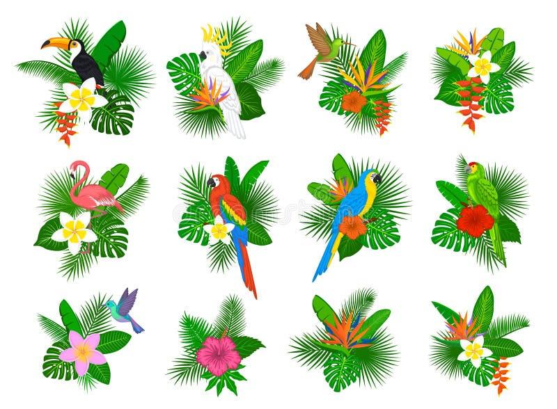 Ropical pianta le disposizioni dei fiori delle foglie royalty illustrazione gratis